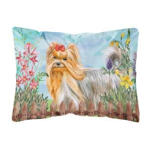 12 in. x 16 in. Multi-Color Lumbar Outdoor Throw Pillow Yorkshire Terrier Spring