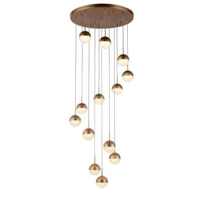 Phantasm 32.5-Watt Integrated LED Matte Gold Cluster Pendant with Iced Opal Acrylic Shades