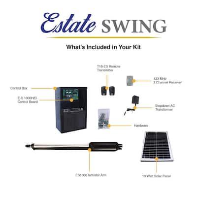 Single Swing Automatic Gate Opener Kit with 10-Watt Solar Panel