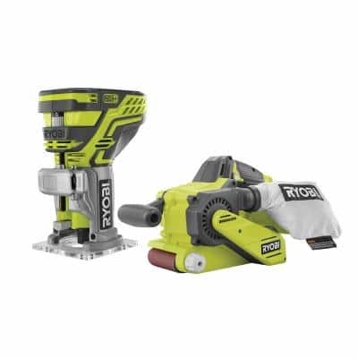 ONE+ 18V Lithium-Ion Brushless Cordless 3 in. x 18 in. Belt Sander and Fixed Base Trim Router (Tools Only)