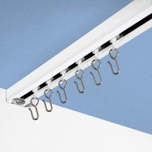 Ceiling Track Set 12 ft. to 18 ft. Large for Spaces Wide in White