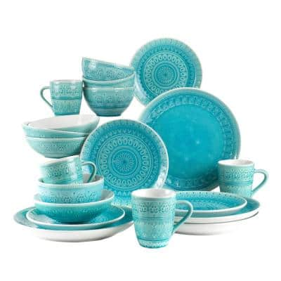 Fez 20-Piece Patterned Turquoise/Reactive Crackle-glaze Stoneware Dinnerware Set (Service for 4)