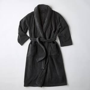 Men's Large Charcoal Turkish Cotton Long Robe