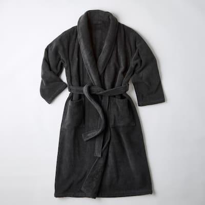 Men's Medium Charcoal Turkish Cotton Long Robe