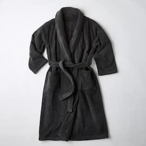 Men's Small Charcoal Turkish Cotton Long Robe