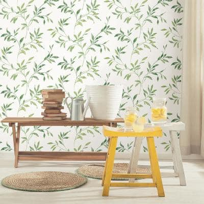Sanibel Green Trail Green Wallpaper Sample