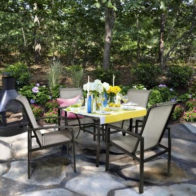Vienna 5-Piece Metal Sling Square Outdoor Patio Dining Set 4 Chairs and 1 Table Outdoor Furniture