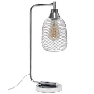 19 in. Chrome Industrial Mesh Desk Lamp