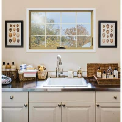 48 in. x 30 in. W-2500 Series White Painted Clad Wood Awning Window w/ Natural Interior and Screen