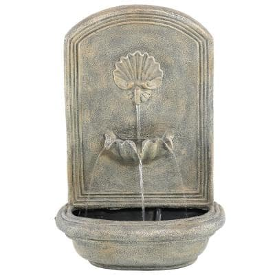 Seaside French Limestone Electric Powered Outdoor Wall Fountain