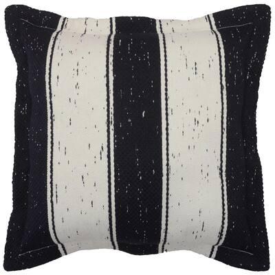 Midnight Heathered Wide Stripe Outdoor Throw Pillow