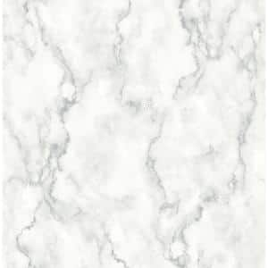 Marble Texture White And Gray Vinyl Peel & Stick Wallpaper Roll (Covers 30.75 Sq. Ft.)