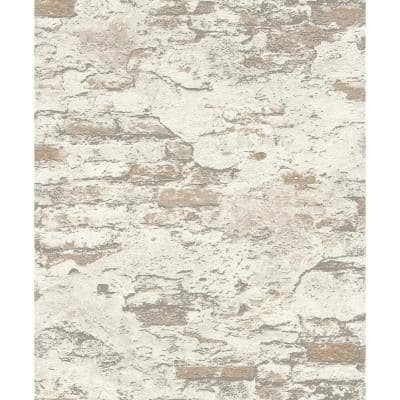 Templier Off-White Distressed Brick Off-White Wallpaper Sample
