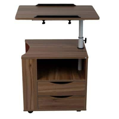 23.75 in. Rectangular Brown Laptop Desk with Adjustable Height Feature