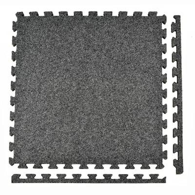 Royal Carpet Dark Gray Velour Plush 2 ft. x 2 ft. x 5/8 in. Interlocking Carpet Tile 96.875 sq. ft. (25 Tiles/Case)