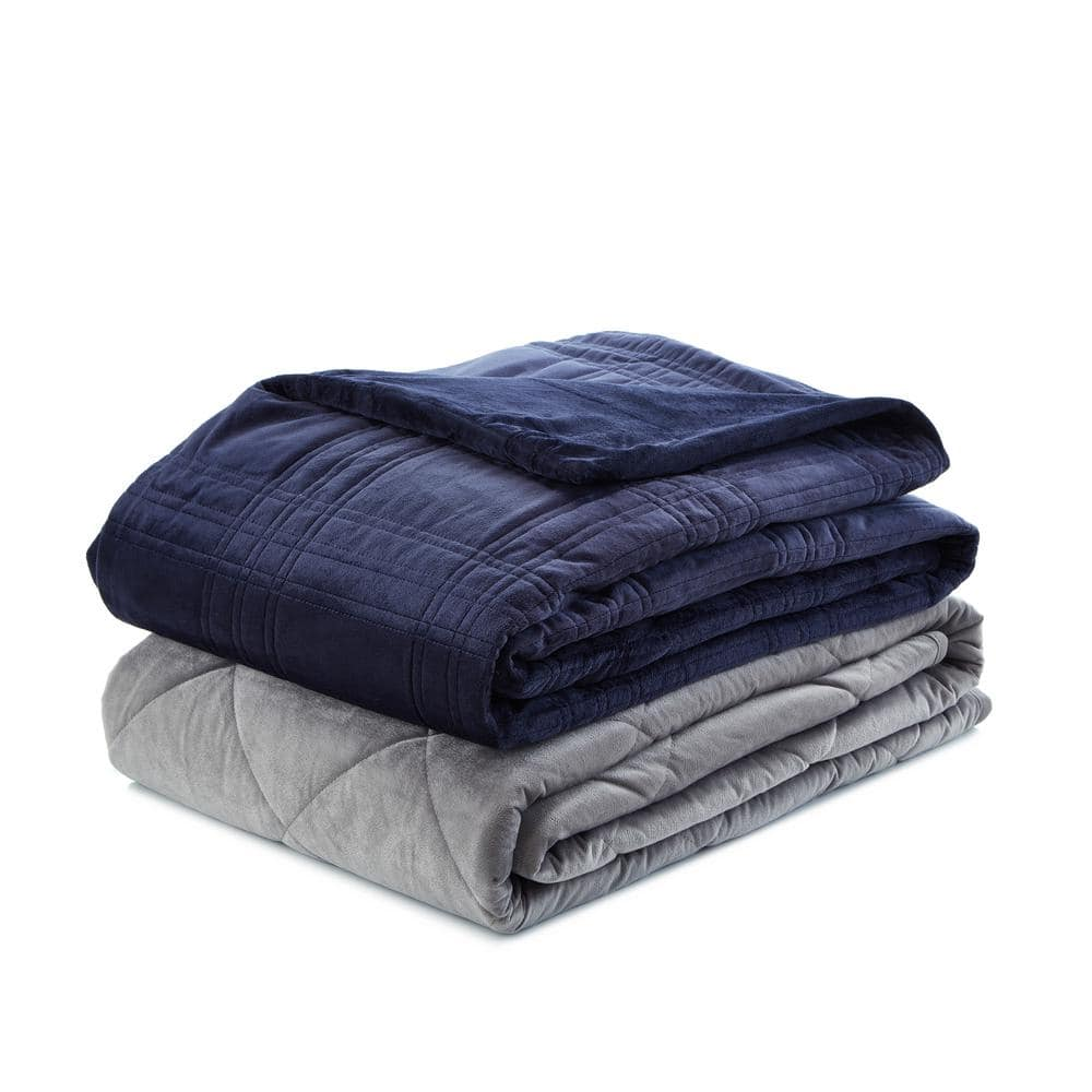 Cozy Tyme Ekon Navy 48 In X 72 In 20 Lb Weighted Blanket B17120 15nyt Hd The Home Depot