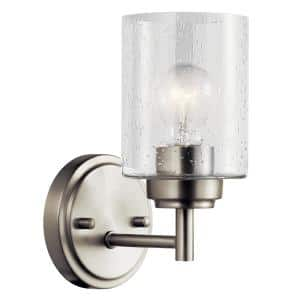 Winslow 1-Light Brushed Nickel Wall Sconce with Clear Seeded Glass Shade