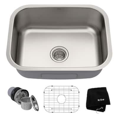Premier Undermount Stainless Steel 23 in. Rectangular Single Bowl Kitchen Sink