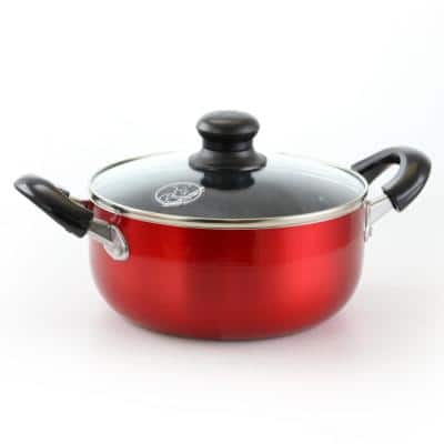 6 qt. Round Aluminum Nonstick Dutch Oven in Red with Glass Lid