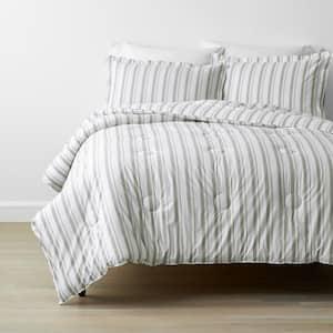 Company Kids Stripe 2-Piece Gray Organic Cotton Percale Twin Comforter Set