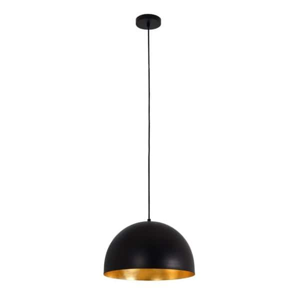 Adesso Dome 1 Light Black And Foiled Gold Pendant Af47484bk Go The Home Depot