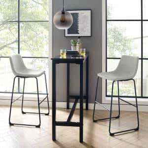 29-3/8 in. Grey Faux Leather Bar Stools (Set of 2)