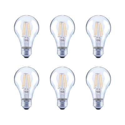 40-Watt Equivalent A19 Clear Glass Vintage Decorative Edison Filament Dimmable LED Light Bulb Soft White (6-Pack)