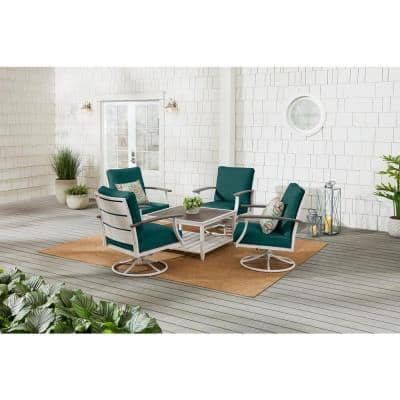 Marina Point 5-Piece White Steel Motion Outdoor Patio Conversation Seating Set with CushionGuard Malachite Cushions