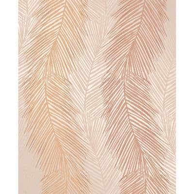 Wheaton Orange Leaf Wave Paper Strippable Roll (Covers 56.4 sq. ft.)