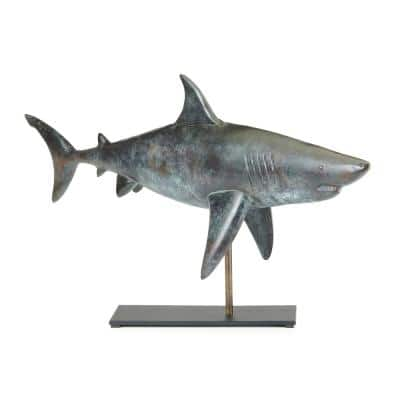 Nautical Home Decor Pure Copper Hand Finished Grey Patina Shark Table Top Sculpture