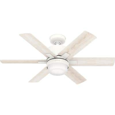 Radeon 44 in. Indoor Matte White Smart Ceiling Fan with Light Kit and Wall Switch
