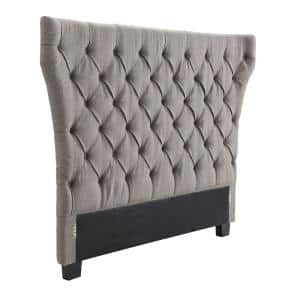 Modus Furniture Geneva Madeleine Gray Dolphin Linen Full Headboard With Tufted Wingback Design 3zh3l4bh7 The Home Depot