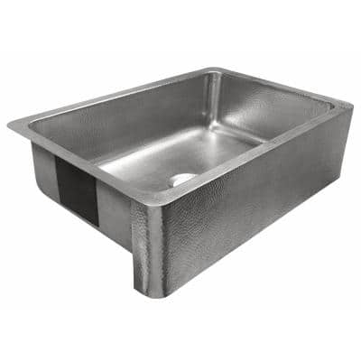 Percy Farmhouse Apron-Front Crafted Stainless Steel 32 in. Single Bowl Kitchen Sink with Brushed Finish