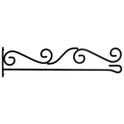 1-1/4 ft. Wrought Iron Horizontal Garden Flag Pole Holder Wall Scroll Hanger