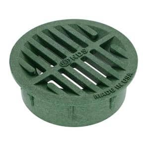 3 in. - 4 in. Plastic Round Drainage Grate in Green