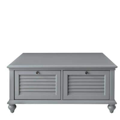 Hamilton 40 in. Distressed Gray Medium Square Wood Coffee Table with Drawers