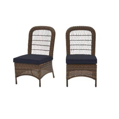 Beacon Park Brown Wicker Outdoor Patio Armless Dining Chair with CushionGuard Midnight Navy Blue Cushions (2-Pack)