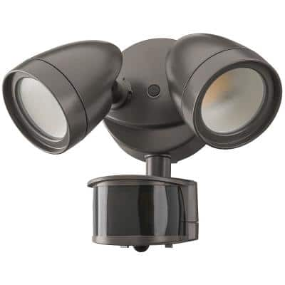 2-Head Bronze Motion Activated Outdoor Integrated LED Security Flood Light 1200 to 2400 Lumens Boost 3 CCT