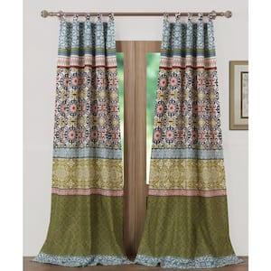 Multi Colored Geometric Tab Top Sheer Curtain - 42 in. W x 84 in. L