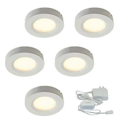 3 in. Warm Light New Construction and Remodel Recessed Integrated LED Kit 12-Volt Plastic Pucks – White (5- Pack) 3000k