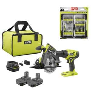 18-Volt Cordless ONE+ Drill/Driver, Circular Saw Kit w/(2) 1.5 Ah Batteries, Charger, Bag and Impact Rated Driving Kit