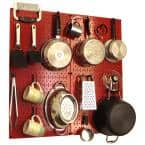 Kitchen Pegboard 32 in. x 32 in. Metal Peg Board Pantry Organizer Kitchen Pot Rack with Red Pegboard and Black Peg Hooks