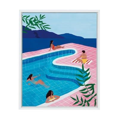 "Sylvie ""Pool Ladies"" by Maja Tomljanovic Framed Canvas Wall Art 18 in. x 24 in."
