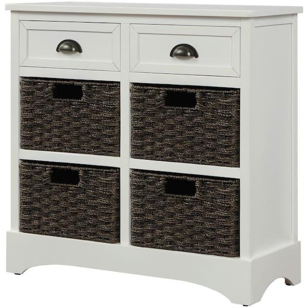Qualfurn White Rustic Storage Cabinet, White Storage Furniture With Baskets