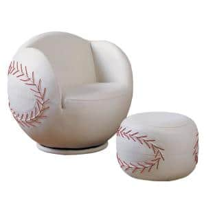 2-Piece White Baseball All Star Pack Chair and Ottoman