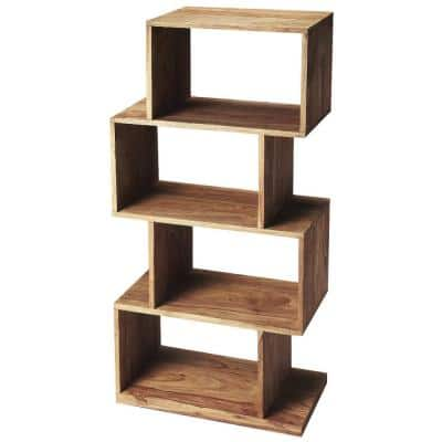 47.5 in. Brown Wood 4-shelf Etagere Bookcase with Open Back