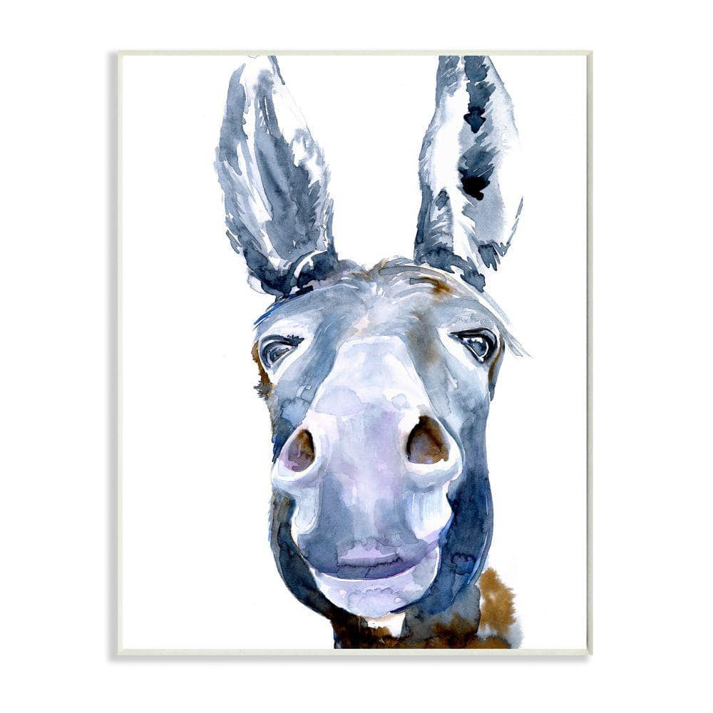 Stupell Industries Donkey Portrait Blue Brown Animal Watercolor Painting By Jennifer Paxton Parker Wood Abstract Wall Art 19 In X 13 In Aap 475 Wd 13x19 The Home Depot