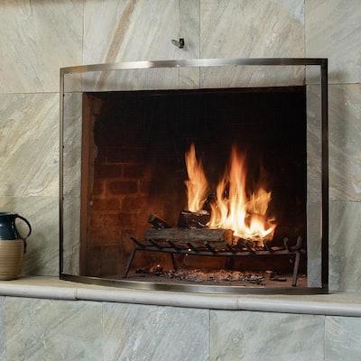 Heavy Duty Curved Pewter 41 in. W Single-Panel Fireplace Screen