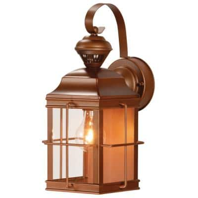 New England Carriage 150° Antique Bronze Motion Sensing Outdoor Wall Lantern Sconce