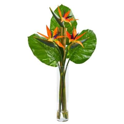 Indoor Bird of Paradise Artificial Arrangement in Cylinder Vase